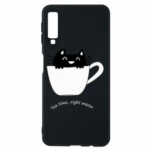 Phone case for Samsung A7 2018 Tea time, right meow - PrintSalon