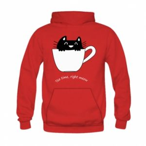 Bluza z kapturem dziecięca Tea time, right meow