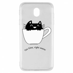 Samsung J7 2017 Case Tea time, right meow
