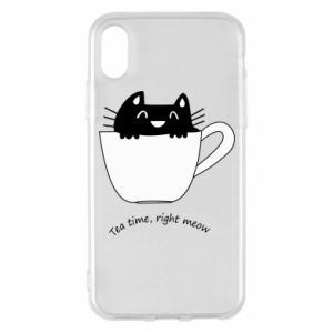 iPhone X/Xs Case Tea time, right meow