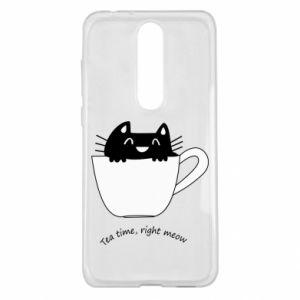 Etui na Nokia 5.1 Plus Tea time, right meow