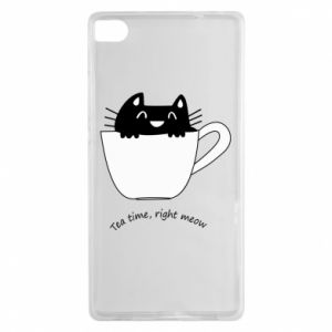 Huawei P8 Case Tea time, right meow