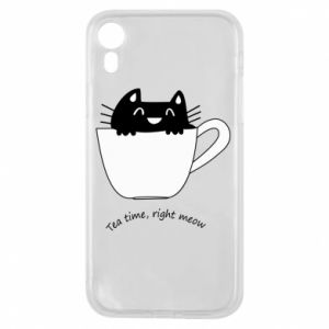 Etui na iPhone XR Tea time, right meow