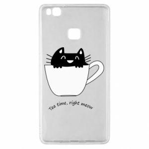 Etui na Huawei P9 Lite Tea time, right meow