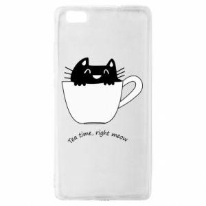 Etui na Huawei P 8 Lite Tea time, right meow