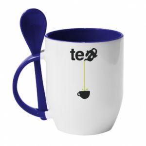 Kubek z ceramiczną łyżeczką Tea - PrintSalon