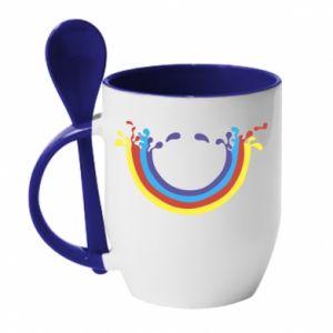 Kubek z ceramiczną łyżeczką Uśmiechnięta tęcza