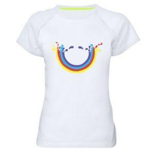 Damska koszulka sportowa Uśmiechnięta tęcza