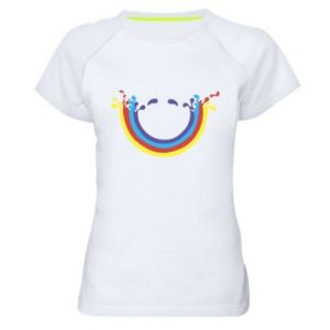 Women's sports t-shirt Smiling rainbow