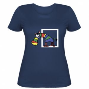 Damska koszulka Tęczowa zebra - PrintSalon