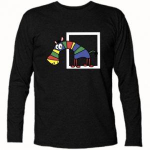 Koszulka z długim rękawem Tęczowa zebra - PrintSalon