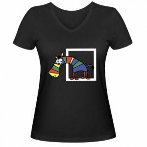 Damska koszulka V-neck Tęczowa zebra - PrintSalon