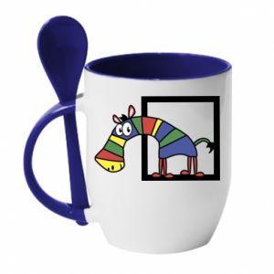Kubek z ceramiczną łyżeczką Tęczowa zebra - PrintSalon