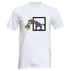 Męska koszulka sportowa Tęczowa zebra - PrintSalon