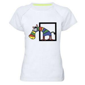 Damska koszulka sportowa Tęczowa zebra - PrintSalon