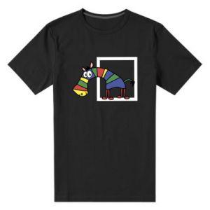 Męska premium koszulka Tęczowa zebra - PrintSalon