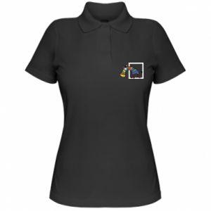 Damska koszulka polo Tęczowa zebra - PrintSalon