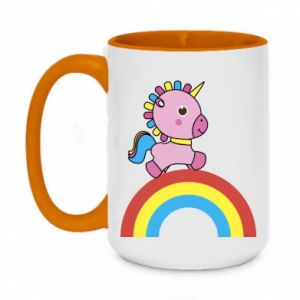 Two-toned mug 450ml Rainbow pony