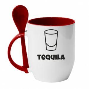 Mug with ceramic spoon Tequila for lime - PrintSalon