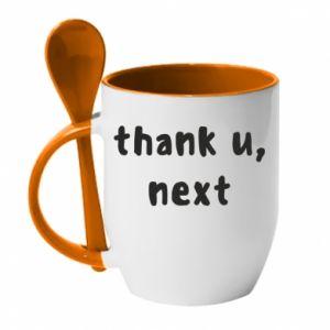 Kubek z ceramiczną łyżeczką thank u, next