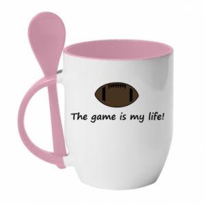 Kubek z ceramiczną łyżeczką The game is my life! - PrintSalon