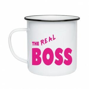 Kubek emaliowane The real boss - PrintSalon