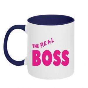 Kubek dwukolorowy The real boss - PrintSalon