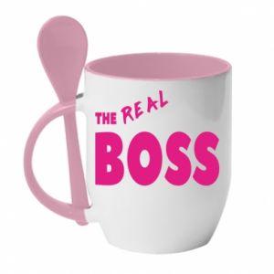 Kubek z ceramiczną łyżeczką The real boss - PrintSalon