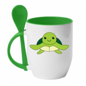 Mug with ceramic spoon The turtle wants hugs - PrintSalon
