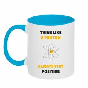 Kubek dwukolorowy Think like a proton always stay positive