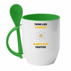 Kubek z ceramiczną łyżeczką Think like a proton always stay positive