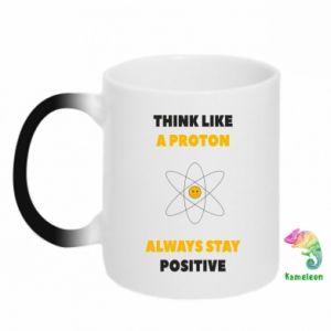 Kubek-kameleon Think like a proton always stay positive