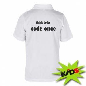 Dziecięca koszulka polo Think twice code once