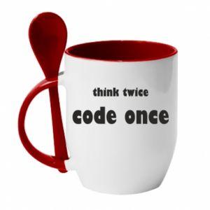 Kubek z ceramiczną łyżeczką Think twice code once