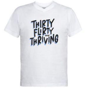 Męska koszulka V-neck Thirty, flirty and thriving