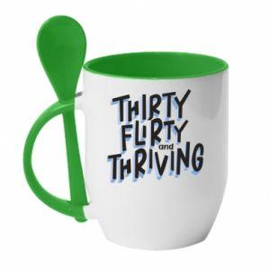 Kubek z ceramiczną łyżeczką Thirty, flirty and thriving