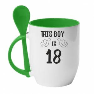 Mug with ceramic spoon This boy is 18!