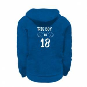 Kid's zipped hoodie % print% This boy is 18!