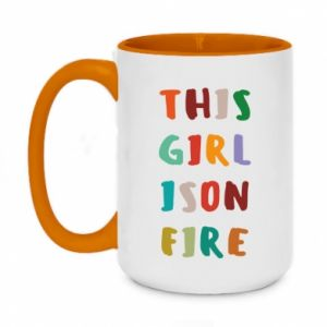 Two-toned mug 450ml This girl is on fire