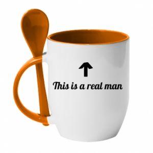 Kubek z ceramiczną łyżeczką This is a real man