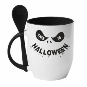 Mug with ceramic spoon This is halloween - PrintSalon