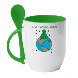 Kubek z ceramiczną łyżeczką This planet sucks