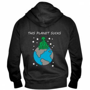Męska bluza z kapturem na zamek This planet sucks