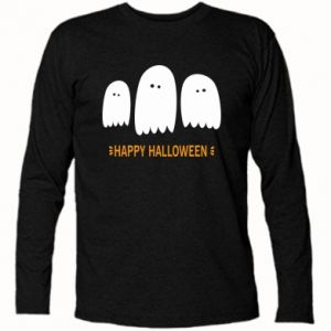 Long Sleeve T-shirt Three ghosts Happy halloween - PrintSalon