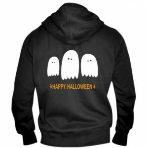 Men's zip up hoodie Three ghosts Happy halloween - PrintSalon