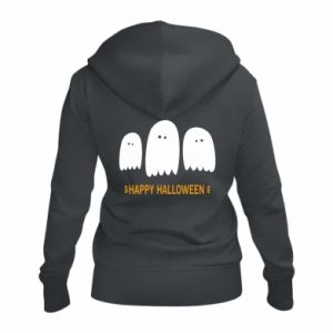 Women's zip up hoodies Three ghosts Happy halloween - PrintSalon