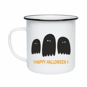 Enameled mug Three ghosts Happy halloween - PrintSalon