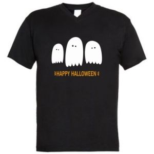 Men's V-neck t-shirt Three ghosts Happy halloween - PrintSalon