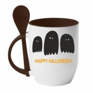 Mug with ceramic spoon Three ghosts Happy halloween - PrintSalon