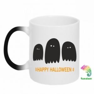 Chameleon mugs Three ghosts Happy halloween - PrintSalon